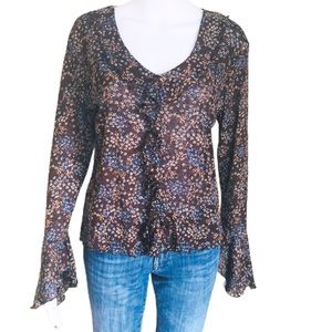 TATTOO Ditzy Floral Bell Sleeve Blouse Brown Sz M
